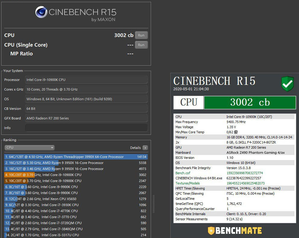 i9-10900K Cinebench r15