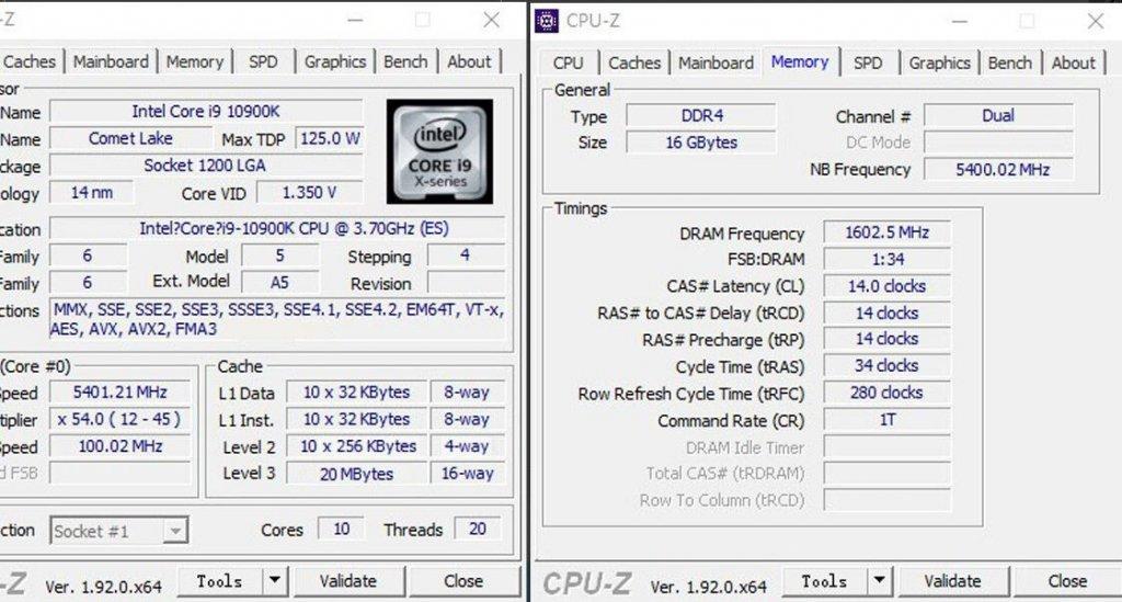 i9-10900K cpu-z