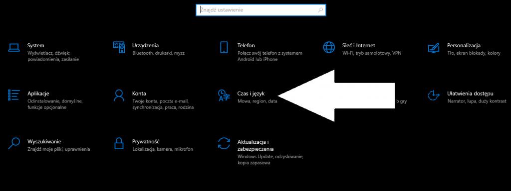 Język klawiatury Windows 10
