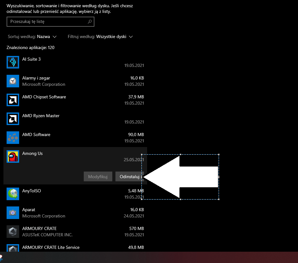jak usunąć program z windows 10