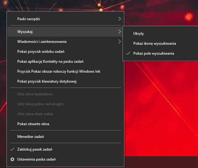 pole wyszukiwania windows 10